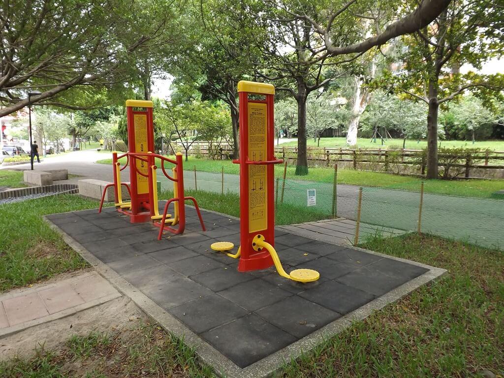中壢莒光公園的圖片:滑步及扭腰健身器材
