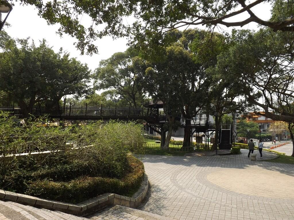 奧爾森林學堂的圖片:圖片正前方的樹叢上有一個樹屋