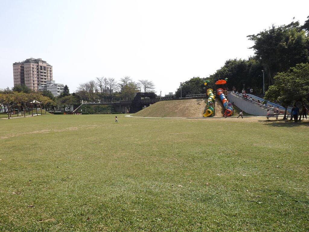 桃園陽明運動公園的圖片:大草皮及高架橋、溜滑梯全景