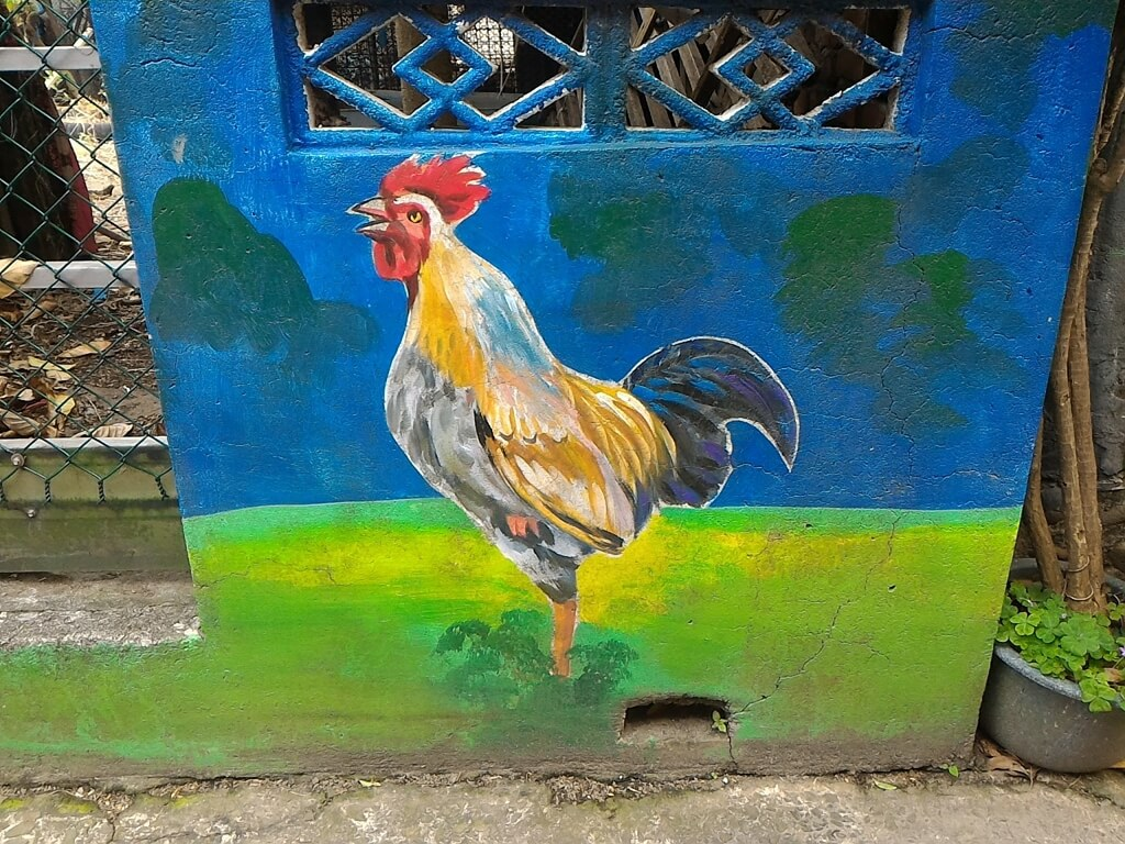 坑口彩繪村的圖片:公雞彩繪