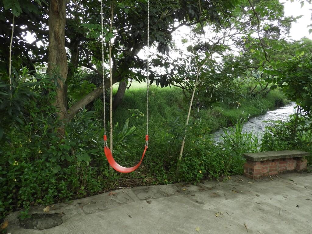 台灣地景花園 Taiwan Land Art Garden的圖片:在花園走道旁的一個盪鞦韆,後面就是溪水