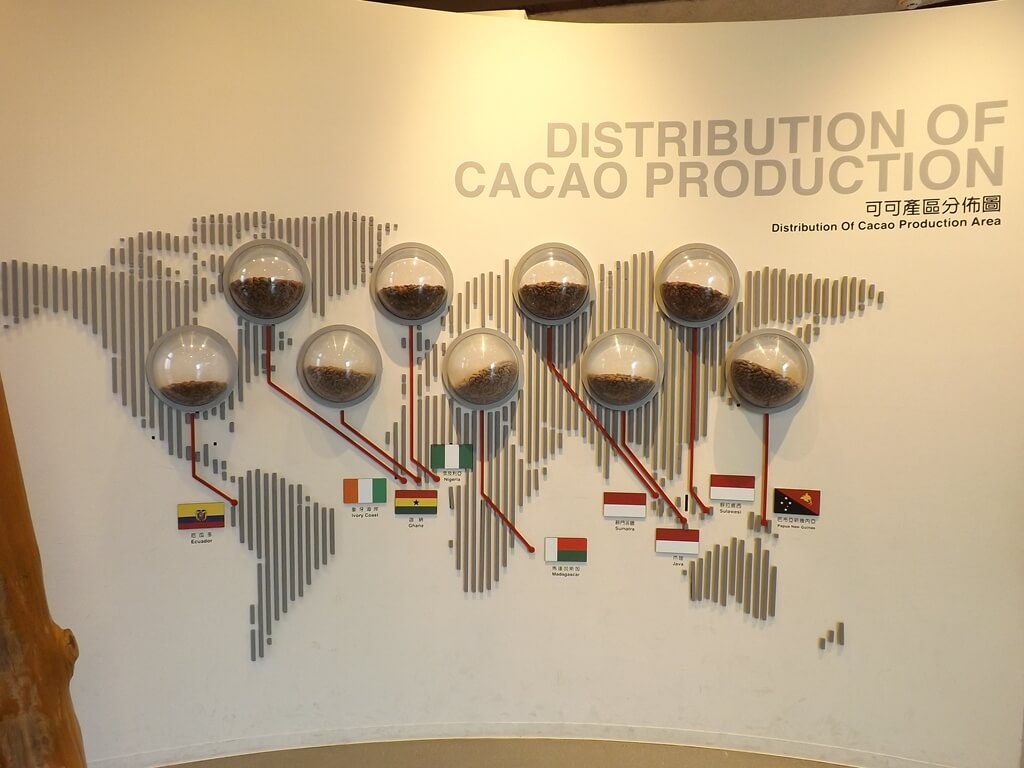 宏亞巧克力共和國的圖片:可可產區分佈圖