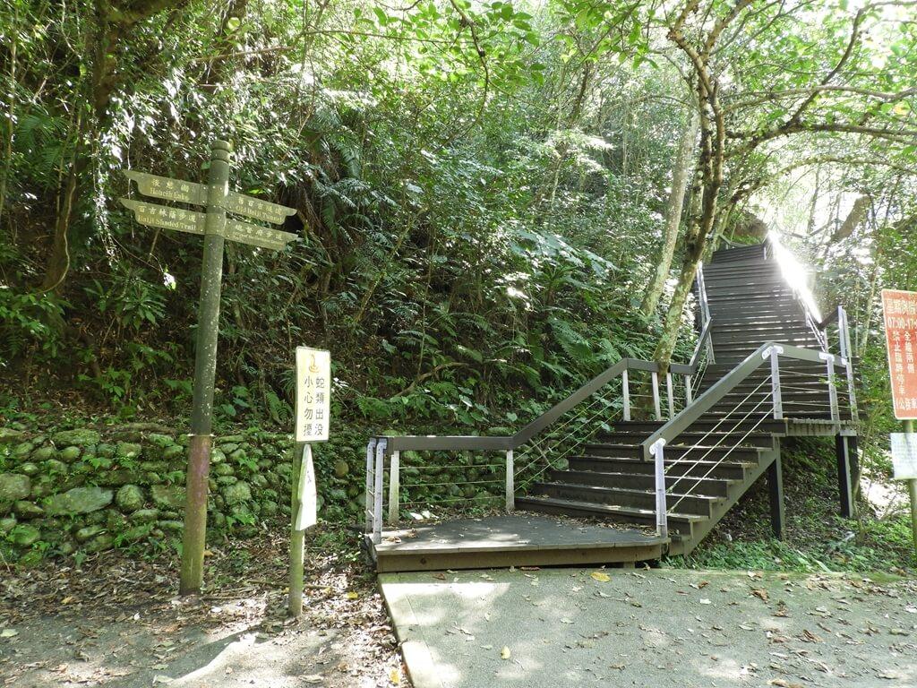 舊百吉隧道的圖片:百吉林蔭步道入口旁的木棧階梯