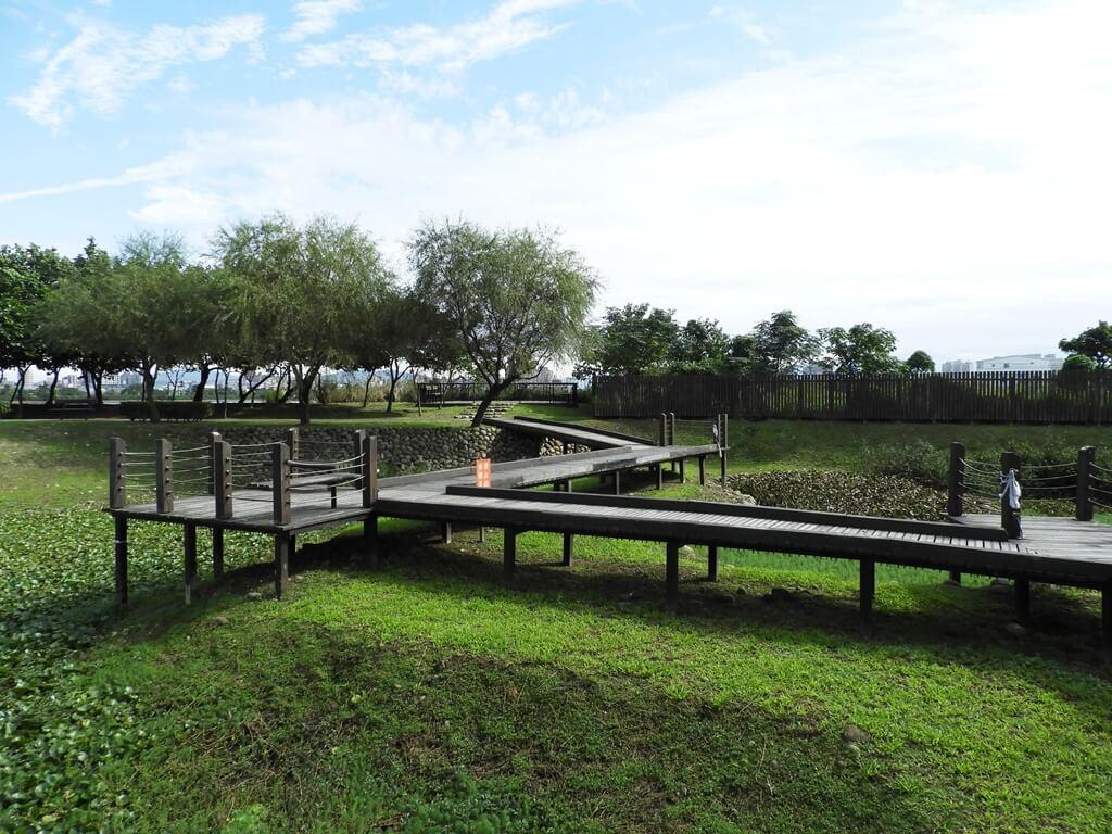 桃園1-4號生態埤塘的圖片:彎曲的木棧走道
