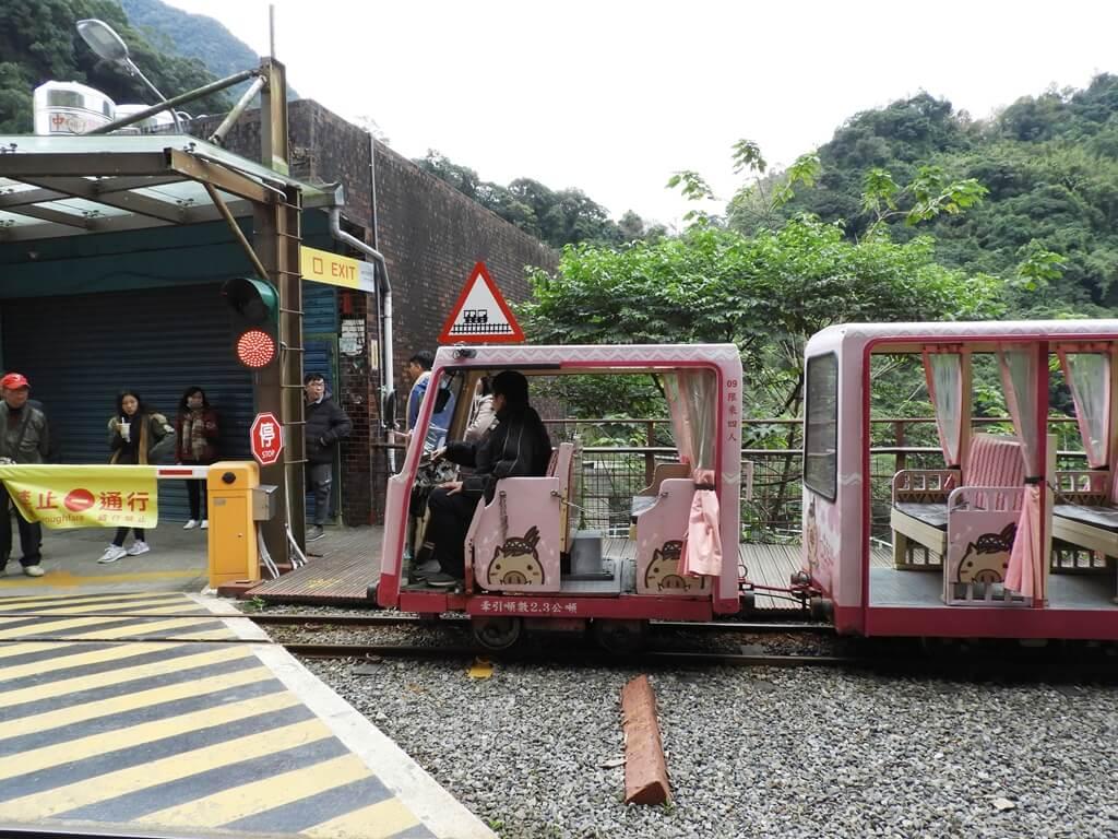 烏來台車的圖片:粉紅色的烏來台車