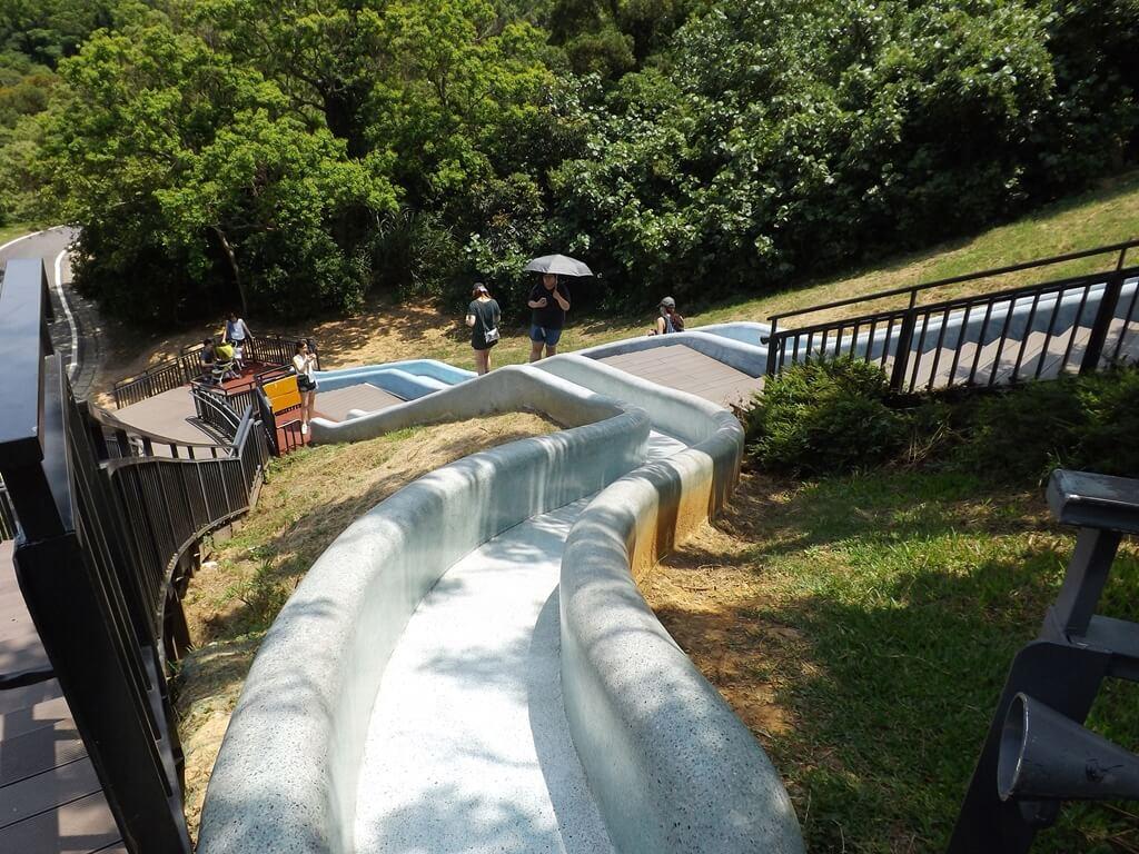 新竹青青草原的圖片:藍色彎彎溜滑梯向下