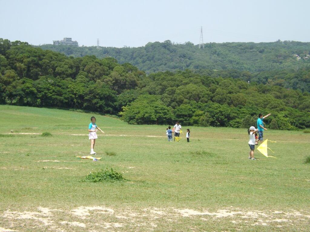 新竹青青草原的圖片:草原上玩風箏的遊客們